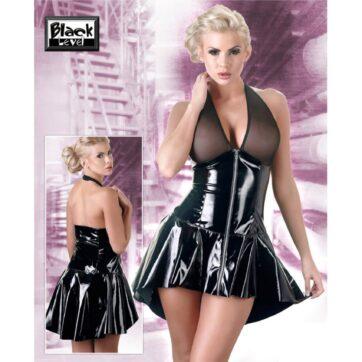 Kjole i lak med gennemsigtig top