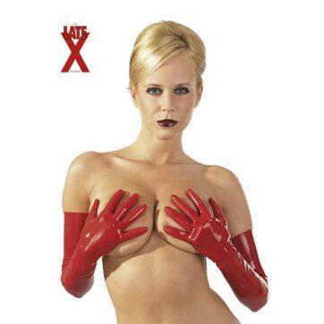 Lange røde latexhandsker