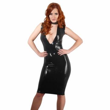 sort latex kjole med dyb udskæring