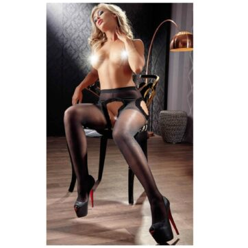 Hofteholder Strømpebukser med Sorte Blonder
