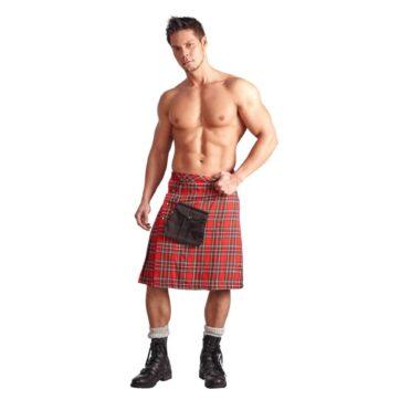 Skotsk Highlander Kilt i Rød og Hvid