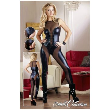 Wetlook Jumpsuit i Sort