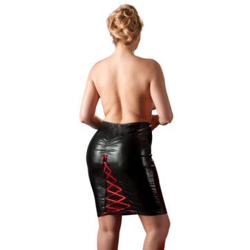 Wetlook nederdel med snører