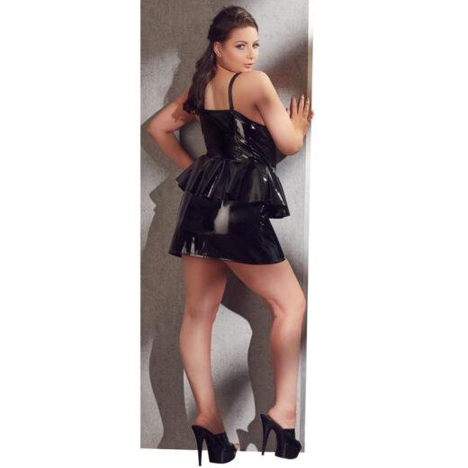 Lak kjole med Peplum