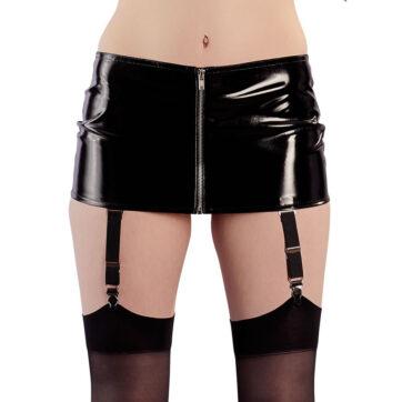 Lak nederdel med strømpeholdere og lynlås