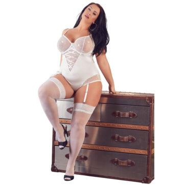 Body i hvid med Strømpeholdere