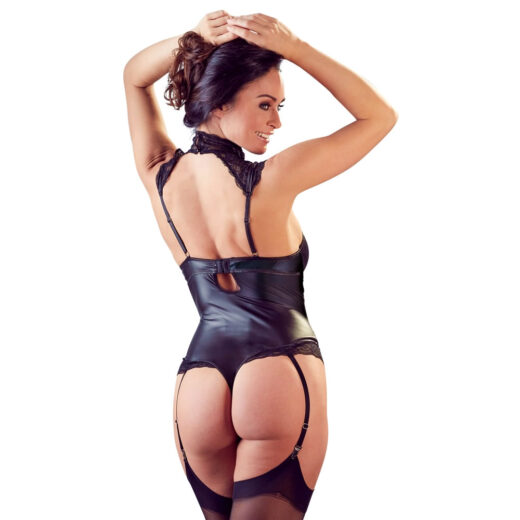 Rachel Wetlook Body med Blonder, Strømpeholdere og Cage Straps