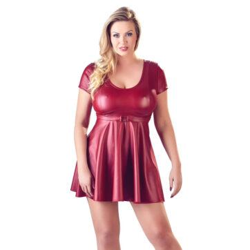 Kjole i Rød Wetlook med Bælte