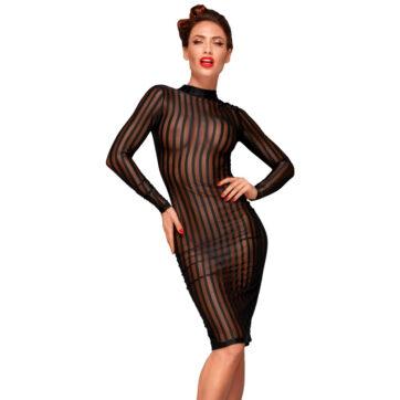 Noir Transparent Kjole med Striber