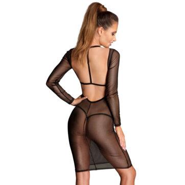 Noir Transparent Nylon Kjole med Velour Harness