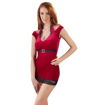 Velvet Kjole af Rød Velour med Blonder & Bælte