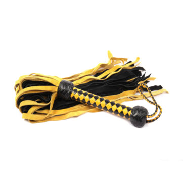 Flogger i gul & sort ruskind