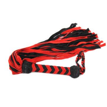 Flogger i rød & sort rugskind